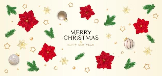 Рождественская открытка с праздничными элементами пуансеттия снежинки еловые ветки и звезды