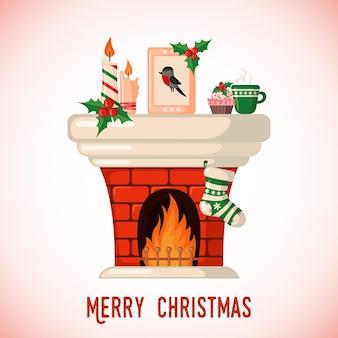 フラットスタイルの暖炉とクリスマスソックス付きのクリスマスカード。ベクトルイラスト。