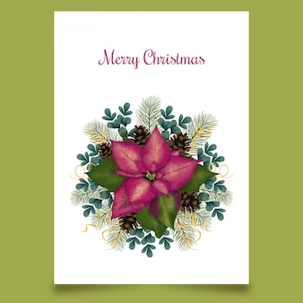 christmas card with flower and conifer