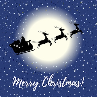 Christmas card with flying sleigh at night