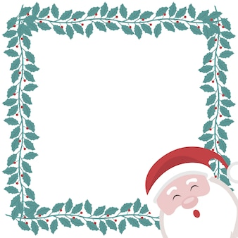 Christmas card with frame of holly branches and santa claus
