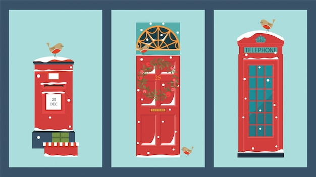 Christmas card with front door, telephone, post box and robin birds.