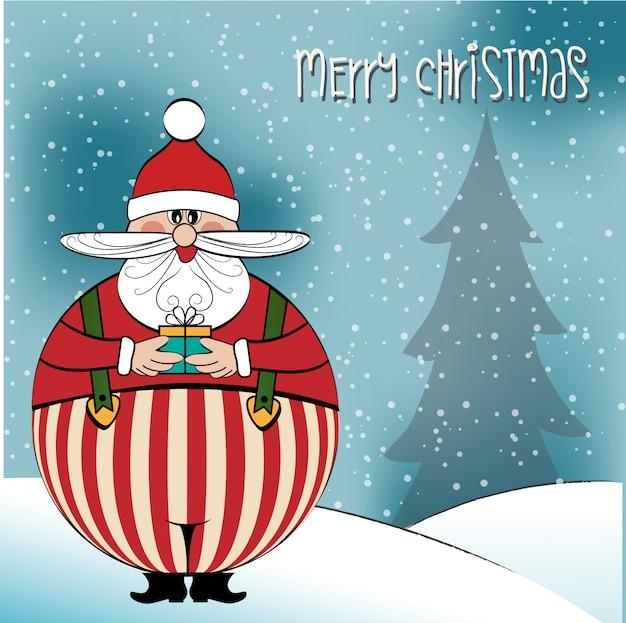 面白い太ったサンタとクリスマスカード
