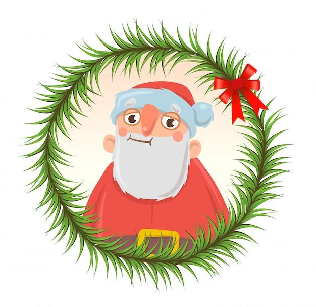 전나무 가지 라운드 프레임에 재미있는 산타 클로스와 크리스마스 카드. 산타 클로스가 낭비되었습니다. 흰색 바탕에. 라운드 요소. 만화 캐릭터 그림.