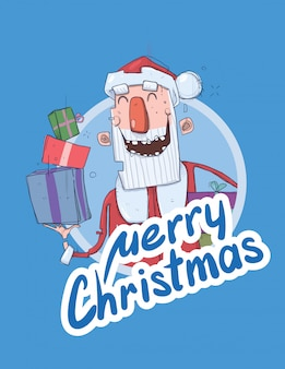 Christmas card with funny santa claus smiling. santa claus brings presents in colorful boxes. lettering on blue background. round design element.