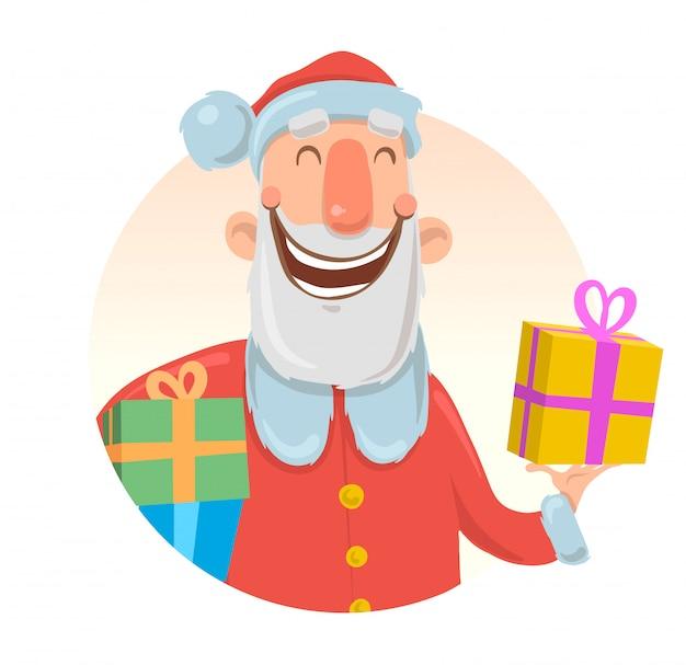 面白いサンタクロースが笑顔のクリスマスカード。サンタクロースは、カラフルなボックスにプレゼントをもたらします。白い背景の上。ラウンド要素。漫画キャライラスト。