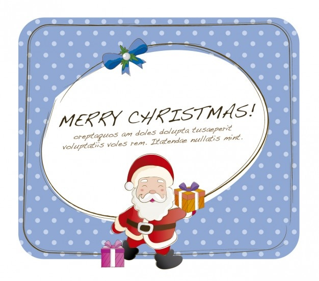 Christmas card with funny santa claus