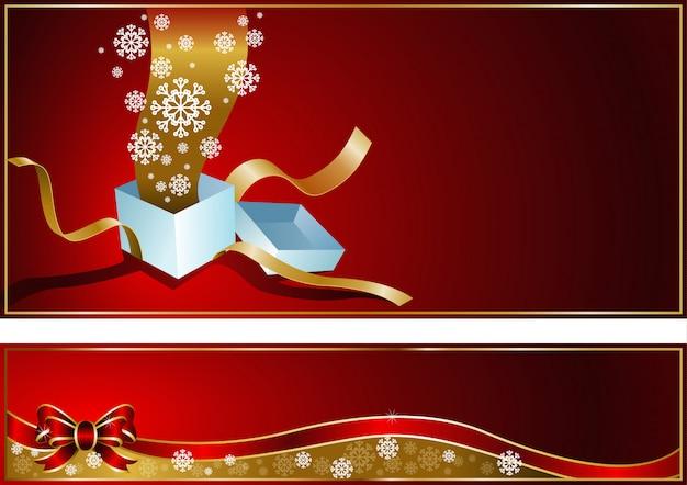 贈り物とクリスマスカードスノーフレークエンドリボン