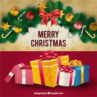 Рождественская открытка с подарками