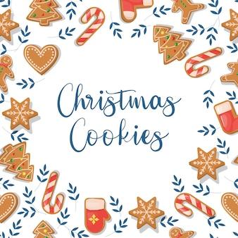 생강 쿠키와 크리스마스 카드 휴일 축제 디저트 겨울 진저 크리스마스 카드