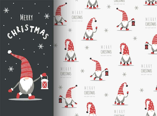 Christmas card with gnome in red hat. cute scandinavian elves on seamless pattern.