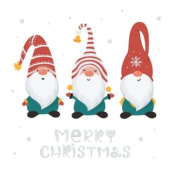 Рождественская открытка с гномами, изолированными на белом