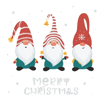 Christmas card with gnomes isolated on white