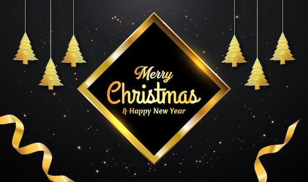 Christmas card with golden line tree