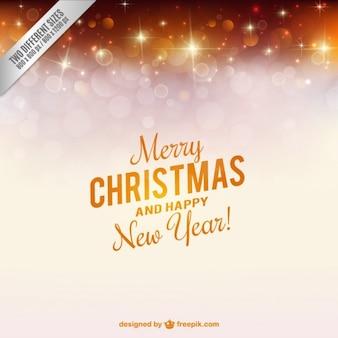金色の火花とクリスマスカード
