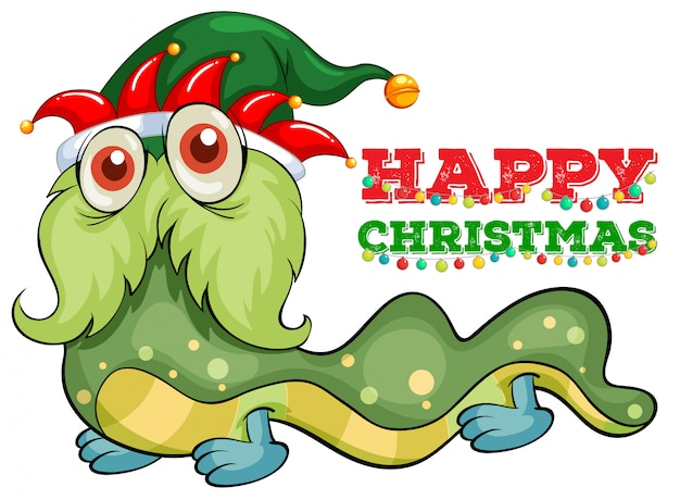 Christmas card with green monster