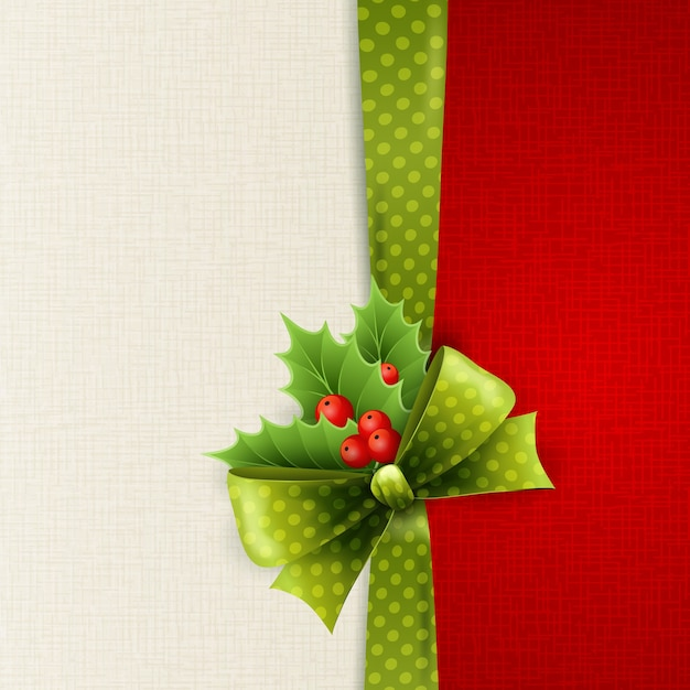 Рождественская открытка с зеленым бантом в горошек и холли