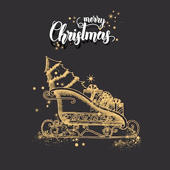 Christmas card with hand drawn doodle golden christmas santa's sleigh and glitter.