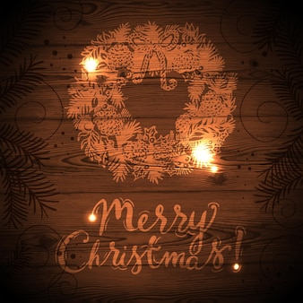 Christmas card with hand drawn sketch illustration. wooden texture vector background