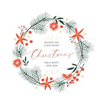 手描きの花輪と手書きのテキストが付いたクリスマスカード。休日のポスター。