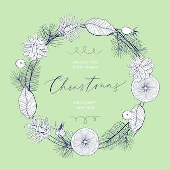 手描きの花輪とクリスマスカード