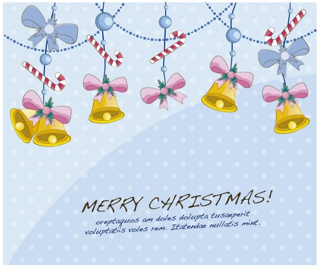Christmas card with hanging bells