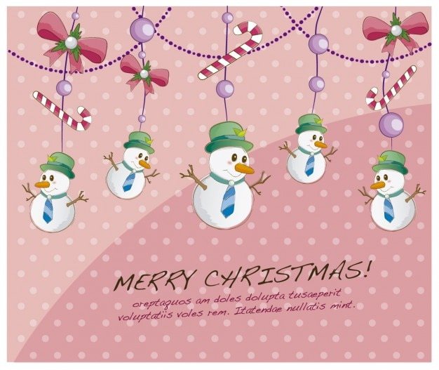 Christmas card with hanging snowmen