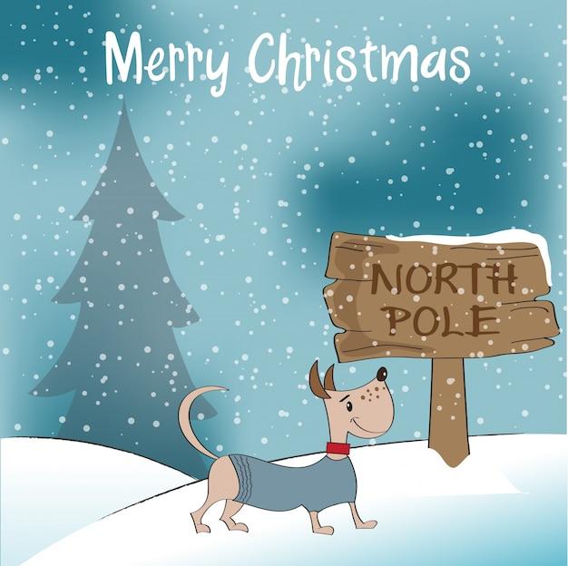 幸せな服を着た犬のクリスマスカード