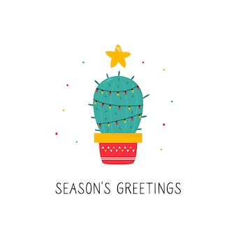 Christmas card with holiday decorated cactus isolated on white background