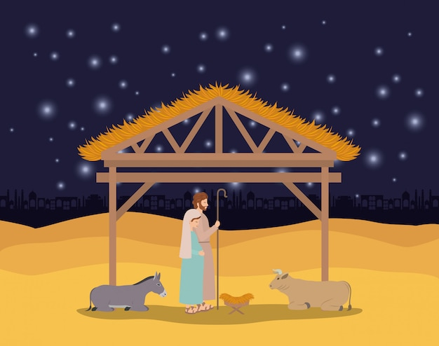 Christmas card with holy family and animals in stable
