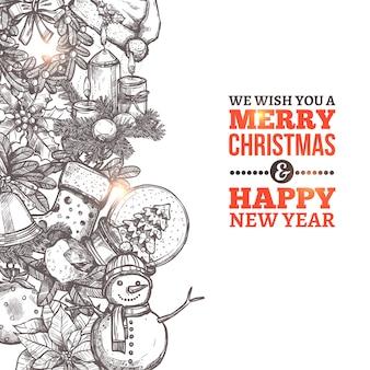 Рождественская открытка в стиле эскиза и типографии