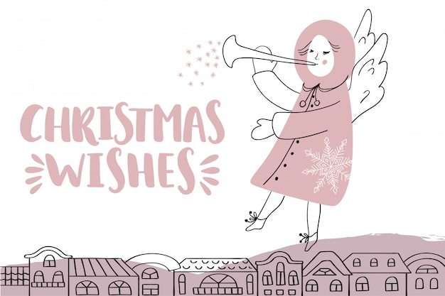 Christmas card with lettering and angel