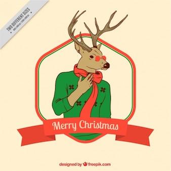 Рождественская открытка с современными битник оленей