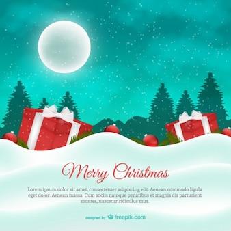 Christmas card with moon