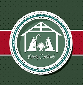 Christmas card with nativity scene vector illustration