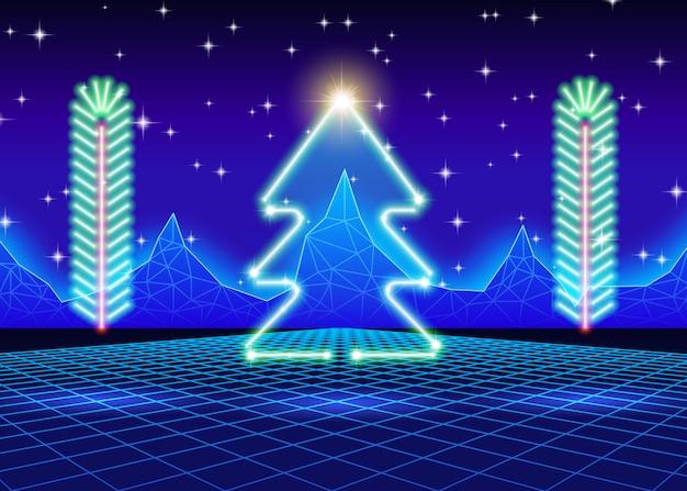 Christmas card with neon tree