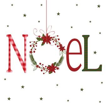 Рождественская открытка с ноэлем и венком