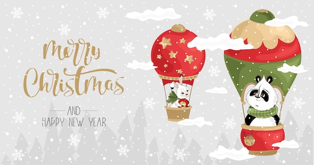 Новогодняя открытка с пандой и банни на воздушном шаре