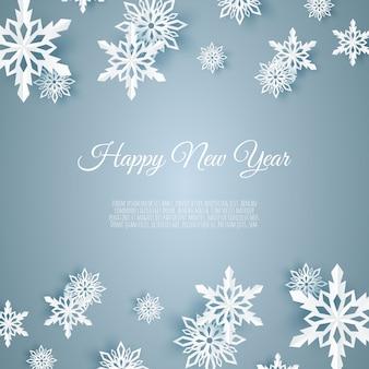 종이 스노우 플레이크, 파란색 배경에 떨어지는 눈송이와 크리스마스 카드