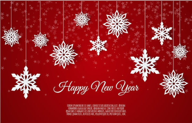Christmas card with paper snow flake, falling snowflakes on a winter background,