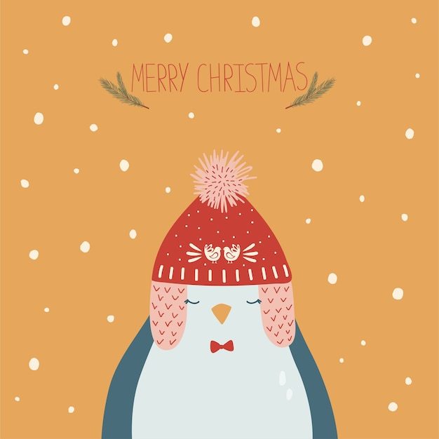 Christmas card with penguin in cap and handwritten lettering