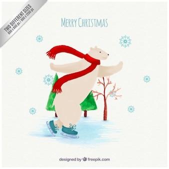Cartolina di natale con un orso polare fare pattinaggio su ghiaccio