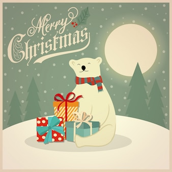 Christmas card with polar bear and gift boxes