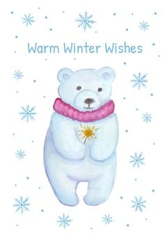 Christmas card with polar bear watercolor bear holding a sparkler