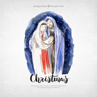 Christmas card with pretty watercolor nativity scene