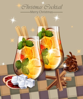 Christmas card with punch drinks. winter holidays cocktails vector realistic