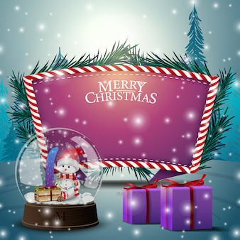 Christmas card with purple text template