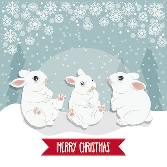 Christmas card with  rabbits.