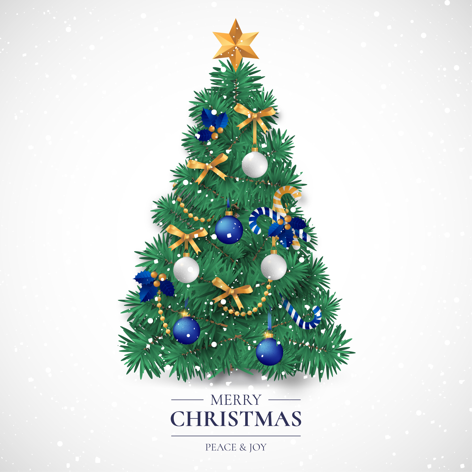 Christmas Card with Realistic Decorative Tree