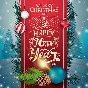 Christmas card with red ribbon and christmas tree branch